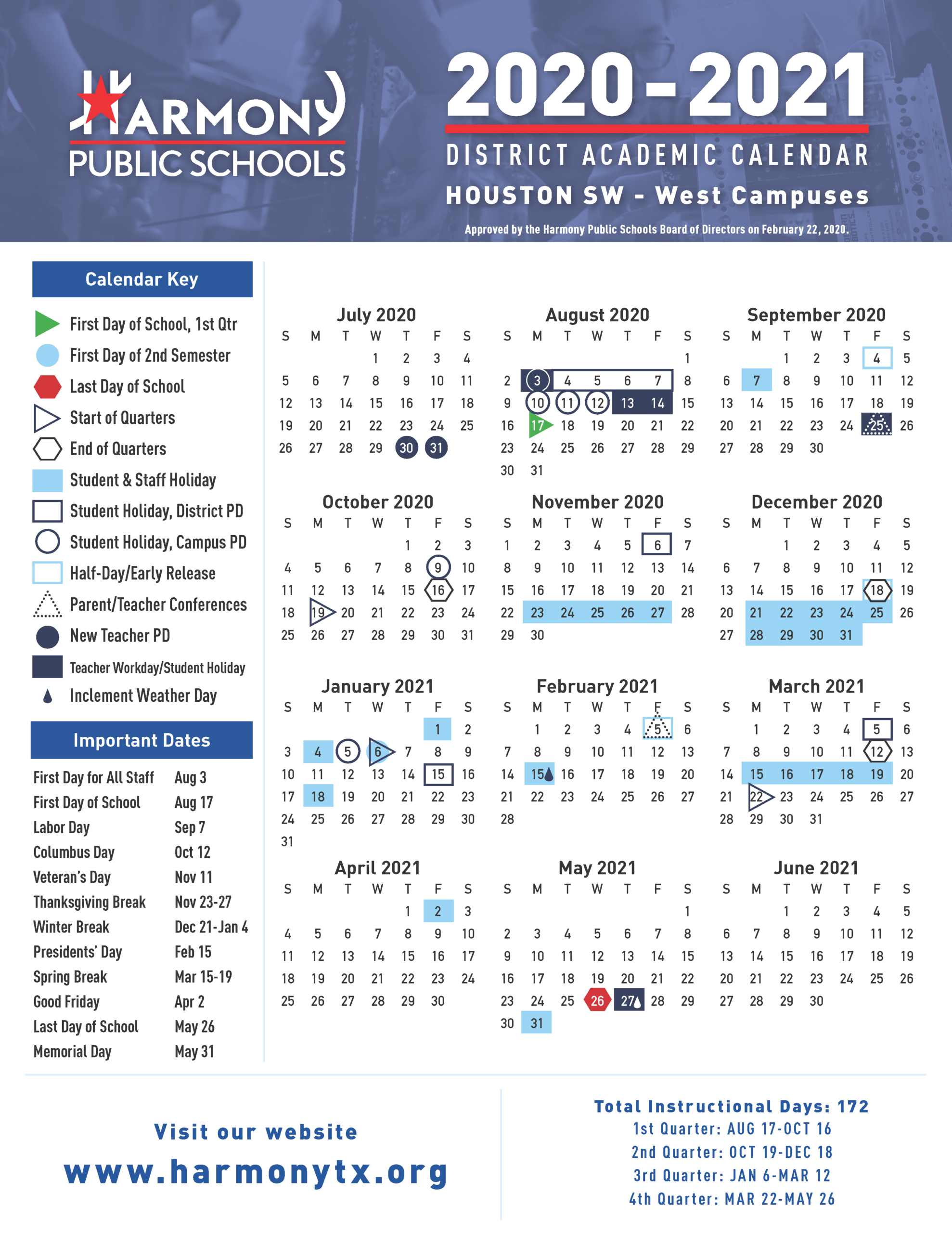 School Calendar For 2021 Academic Calendar! – Harmony School of Innovation – Sugar Land